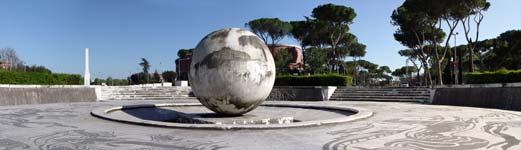 foro italico panoramica con la fontana della sfera in primo piano